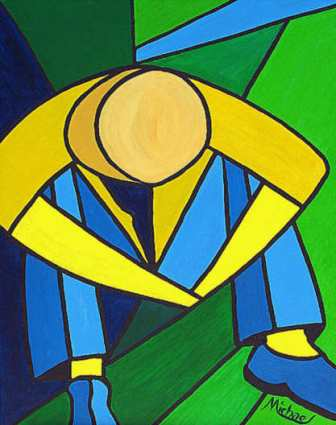 "modern abstract painting of ""Man in Blue Green and Gold"" by American  contemporary artist Michael Arnold"