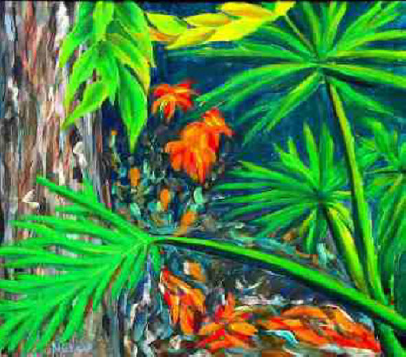Philodendrons original signed acrylic painting on canvas by award winning artist Michael Arnold