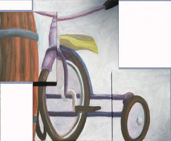 trike and barrel painting by Michael Arnold