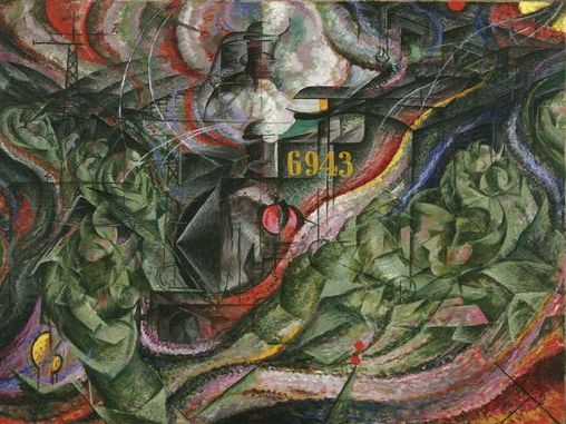 "Umberto Boccioni futurist train painting ""States of Mind"""