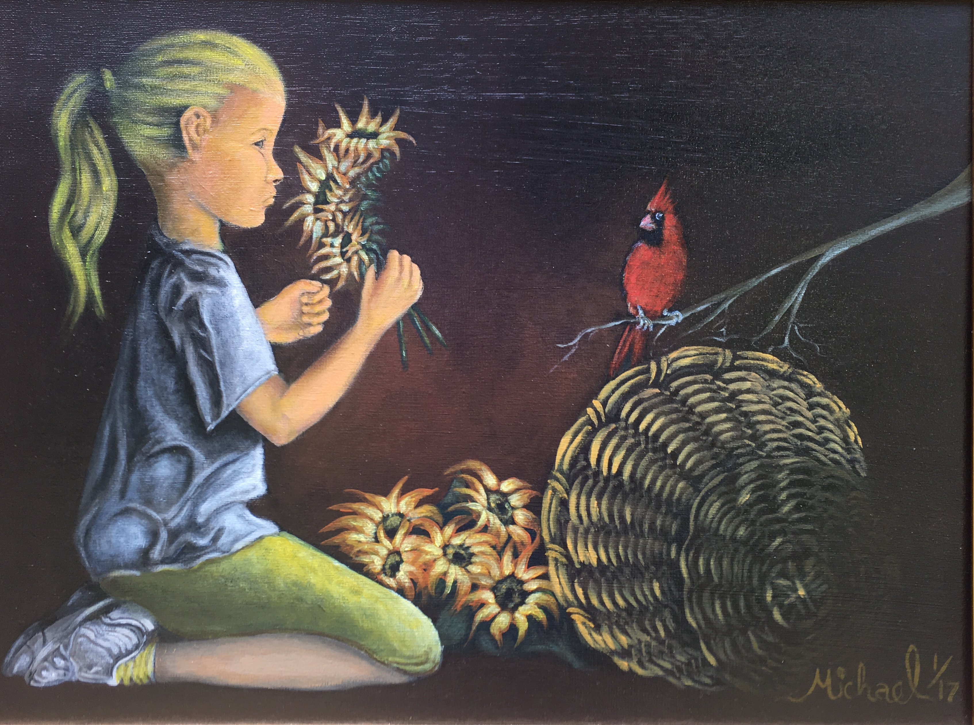 Girl with a sunflower and cardinal