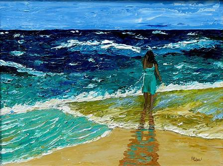 Girl on the Beach painting by Michael Arnold