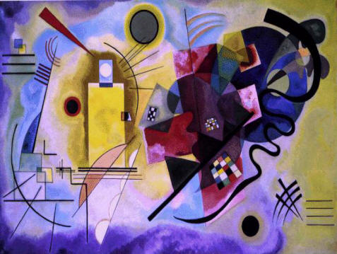"Wassily Kandinski abstract painting by the Russian artist ""Yellow Red and Blue Composition"""