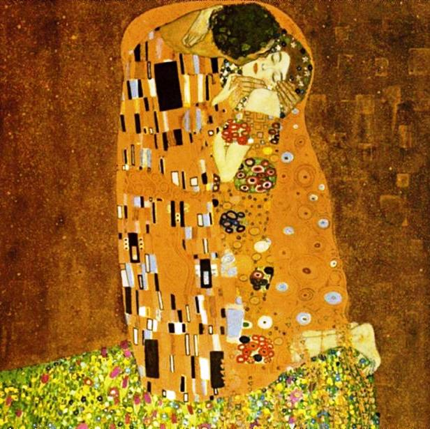"Famous gold leaf painting by Gustav Klimt ""The Kiss"""
